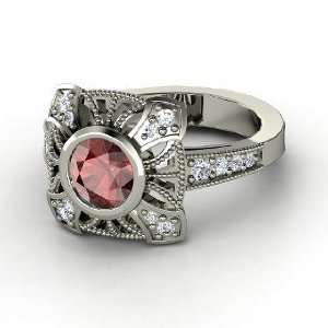 Chevalier Ring, Round Red Garnet Platinum Ring with