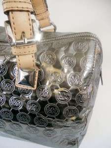 MICHAEL KORS SILVER NICKEL MIRROR MONOGRAM GRAYSON SATCHEL BAG