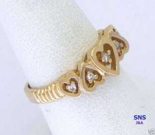 Lovely Sweet Hearts 14k Solid Gold Ring set 5 Diamonds