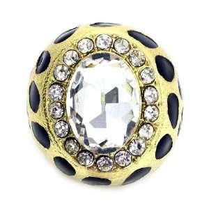 Fashion Leopard Print Ring; Gold Metal; Black Enamel