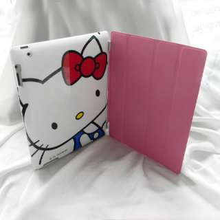 iPad 2 Leather Smart Cover+Hello Kitty Back Case Combo