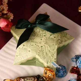 """"""" shape green wedding party favor gift candy/chocolate boxes"""