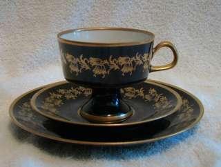 Echt Kobalt Fine China Teacup & 2 Saucer Set German Lichte Blue Gold