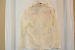 Silk Assets Silk Cotton Blend Ruffle Front Blouse XS