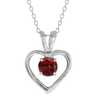 Ct Round Red Garnet Sterling Silver Pendant With 18 Inch Silver Chain