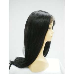 Black Long 100% Indian Remy Human Hair Lace Wig: Beauty