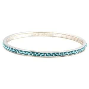 Sterling Silver Blue Crystal Bangle Bracelet by David Sigal Jewelry