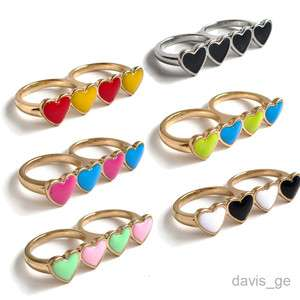 Fashion 4 heart Loves double cocktail rings Party Ring size 6 7 8 SHJ