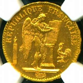 1896 FRENCH ANGEL GOLD COIN 20 FRANCS * NGC CERTIFIED GENUINE & GRADED
