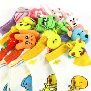 12 Pairs Kids 6 8 Ankle Bootie Pom Pom Socks Cotton