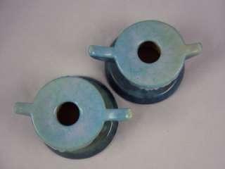 Pair Antique Vtg ROSEVILLE Art Pottery WINCRAFT Candleholders 251 BLUE