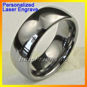 Dome Mens Tungsten Promise Ring Wedding Band Comfort Fit Free Engrave