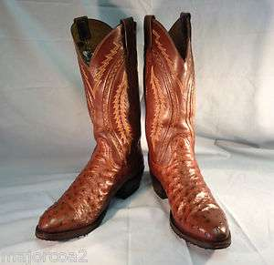 PRE OWNED LUCCHESE OSTRICH & BROWN LEATHER COWBOY BOOTS MENS SIZE 8