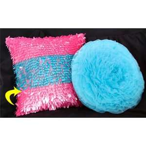 Modern Garden Turquoise and Pink Long Sequins Accent Throw Pillow