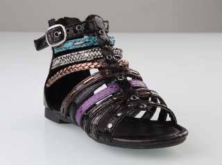 Womens Multi Strap Gladiator SANDALS Boho Studded Ankle FLAT Compy