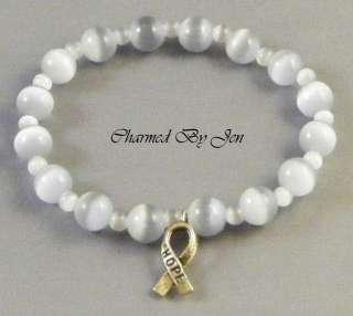 BRAIN CANCER Awareness Stretch Bracelet w/ HOPE Charm