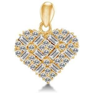 Solid 14k Yellow Gold Love Heart Shape Ladies Pendant