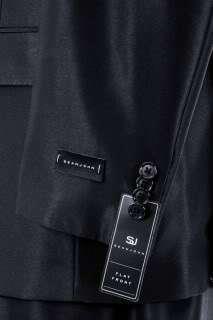 Sean John Mens Suit Solid Black Flat Front Pants 2 Button 2 Vent