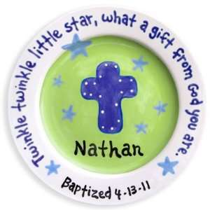 Cross and Stars   Boy Baptism Plate: Baby
