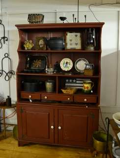 Primitive Country Style Cupboard Red Hutch 3 Shelves 3 Drawers Over 2