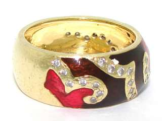Yellow Gold Diamond Red Black Enamel Hidalgo Stack Band Ring