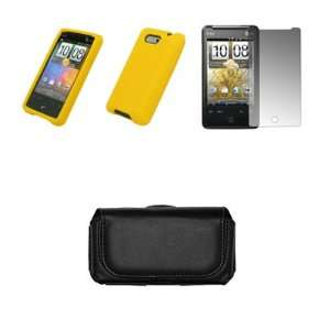 HTC Aria Black Leather Carrying Case + Yellow Case Cover