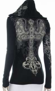 Cross Angel Wings Crystals Stones Hoodie Black Tee T Shirt Ed Hardy
