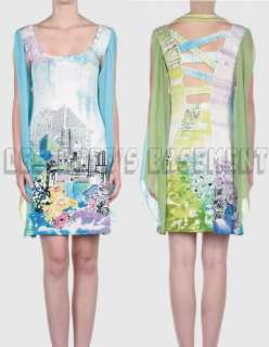 SAVE THE QUEEN aqua & green NEWSPRINT split SCARF sleeve dress NWT