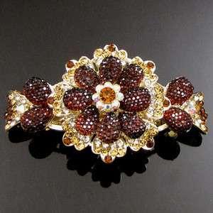 , AUT rhinestone crystal flower barrette hair clip