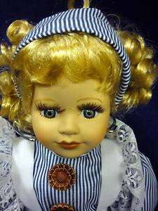 ASHLEY BELLE PORCELAIN DOLL KAY BLUE STRIPED PRAIRE DRESS CURLS