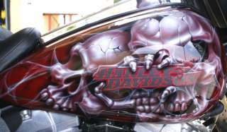 Custom Paint Job On Your Tins Skulls gas tank