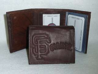 SAN FRANCISCO GIANTS Leather TriFold Wallet NEW dkbr z ins