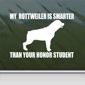 My ROTTWEILER Is Smarter White Sticker Funny Laptop Vinyl White