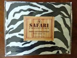 NIP $49 SAFARI COLLECTION TWIN SHEET SET COTTON ZEBRA