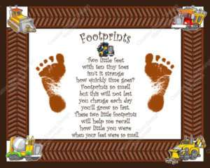 Construction Theme Babys Footprints with Poem