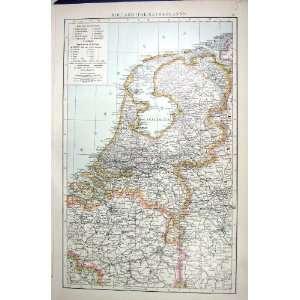 HOLLAND NETHERLANDS ANTIQUE MAP c1897 BELGIUM PRUSSIA