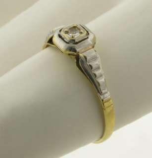Antique Art Deco Diamond 18K White & Yellow Gold Ring