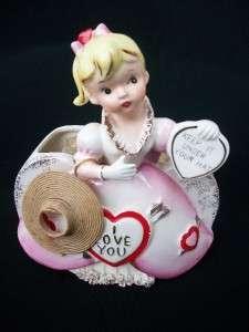 VTG RUBENS VALENTINE HEART PLANTER HEADVASE GIRL VASE