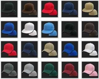 Black Fitted Flat Bill Plain Solid Blank Baseball Ball Cap Caps Hat