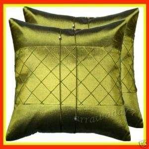 Thai Silk Decorative Cushion Pillow Cover SQ Green