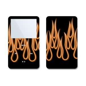 Orange Neon Flames Design Skin Decal Sticker for Apple iPod video 30GB