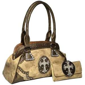 cowgirl rhinestone cross satchel bag with matching wallet   brown