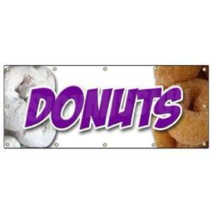 x120 DONUTS 1 BANNER SIGN donut fried sugar powder doughnut doughnuts
