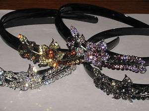 NEW Crystal Rhinestone ROSE Headband*Clear Crystal, Purple, Yellow