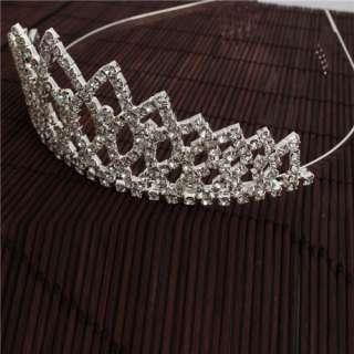 Rhombus Style Rhinestone Crown Headband wedding Tiara Headband