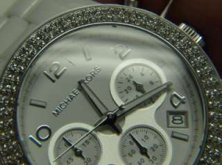 Michael Kors Womens White Ceramic Glitz Chronograph Bracelet Watch