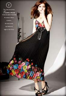 Print Bowknot Long Pleated Braces Skirt Women Maxi Dress C29Z