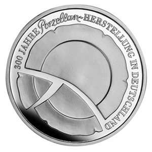 GERMANY 10 EURO KM 287 PROOF SILVER COIN German Porcelain 2010