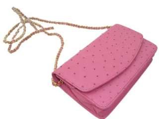PINK* Genuine OSTRICH SKIN Purse CLUTCH Bag Crossbody NEW w/Tags