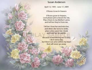 Remember Mom Personalized Name Poem   Roses in Heaven